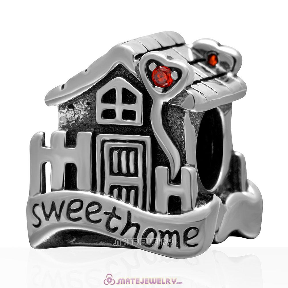 Sweet Home 925 Sterling Silver Charm Bead with Stone