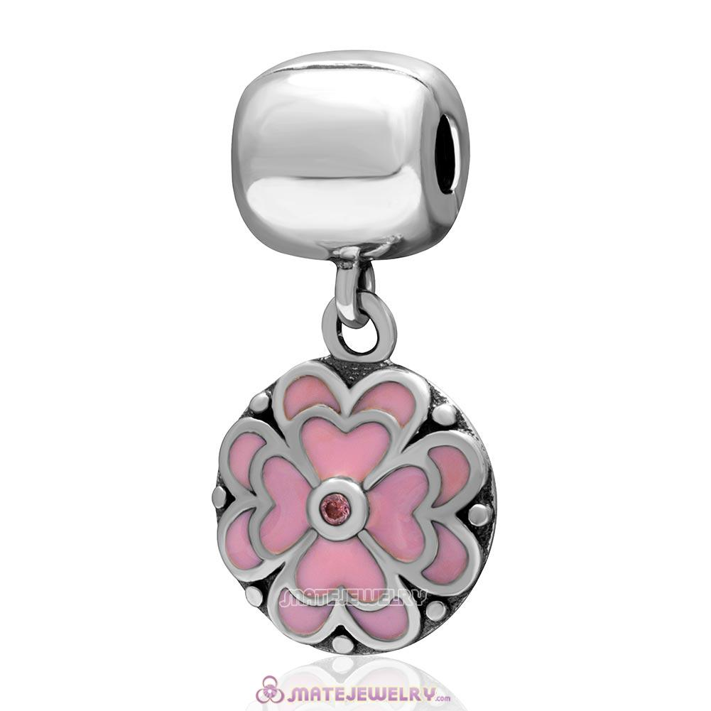Pink Clover Pink Cz Charm 925 Sterling Silver Dangle Clip Bead