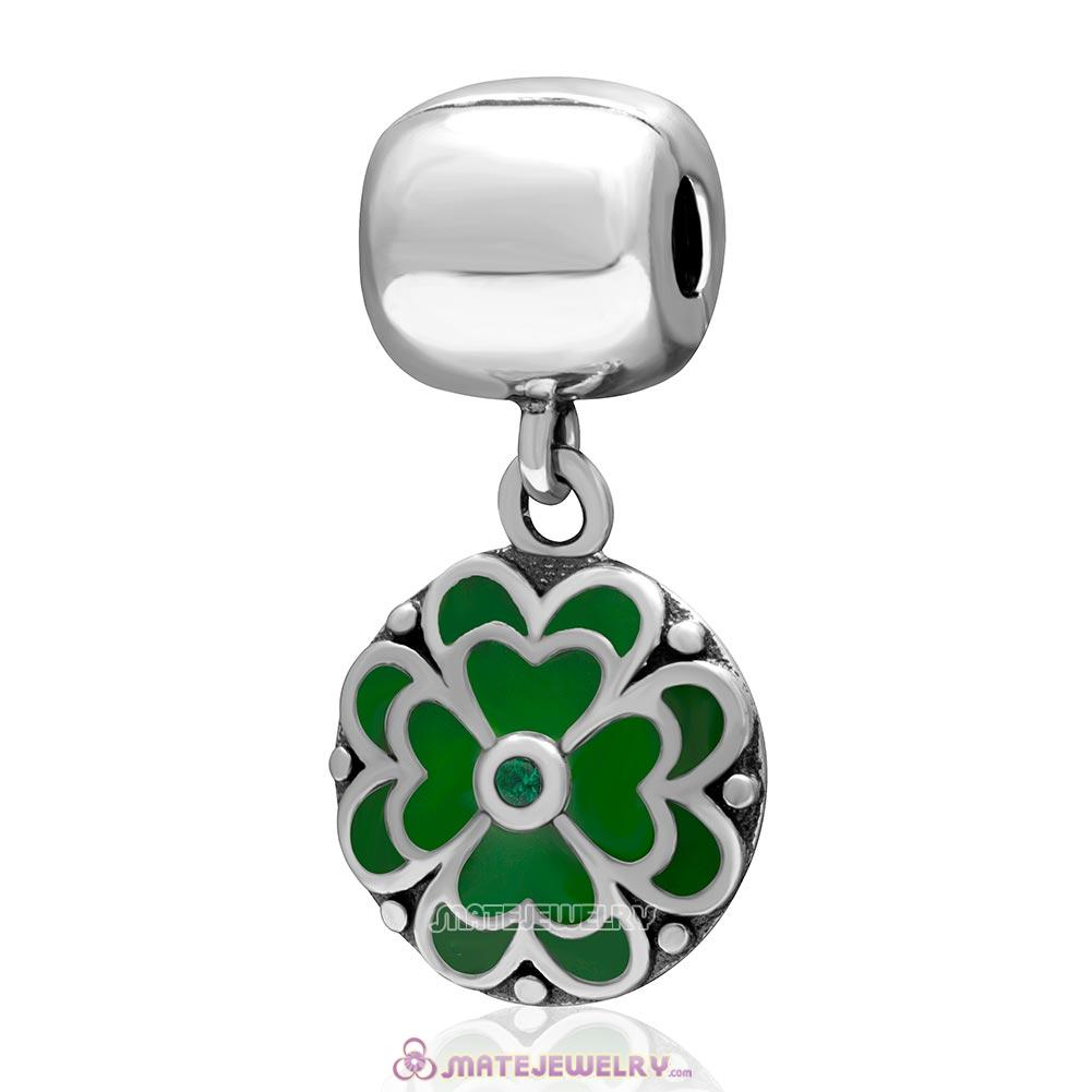 Green Clover Green Cz Charm 925 Sterling Silver Dangle Clip Bead