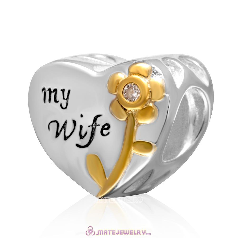 Love My Wife Heart Charm 925 Sterling Silver with Gold Plated Bead