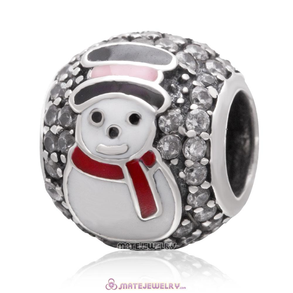 Christmas Snowman Charm 925 Sterling Silver Zircon Stone Bead
