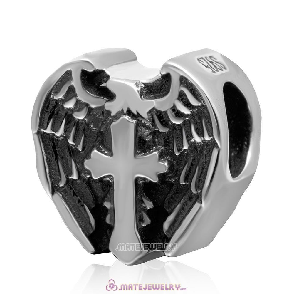 Prayer Cross Heart Charm 925 Sterling Silver Antique Bead
