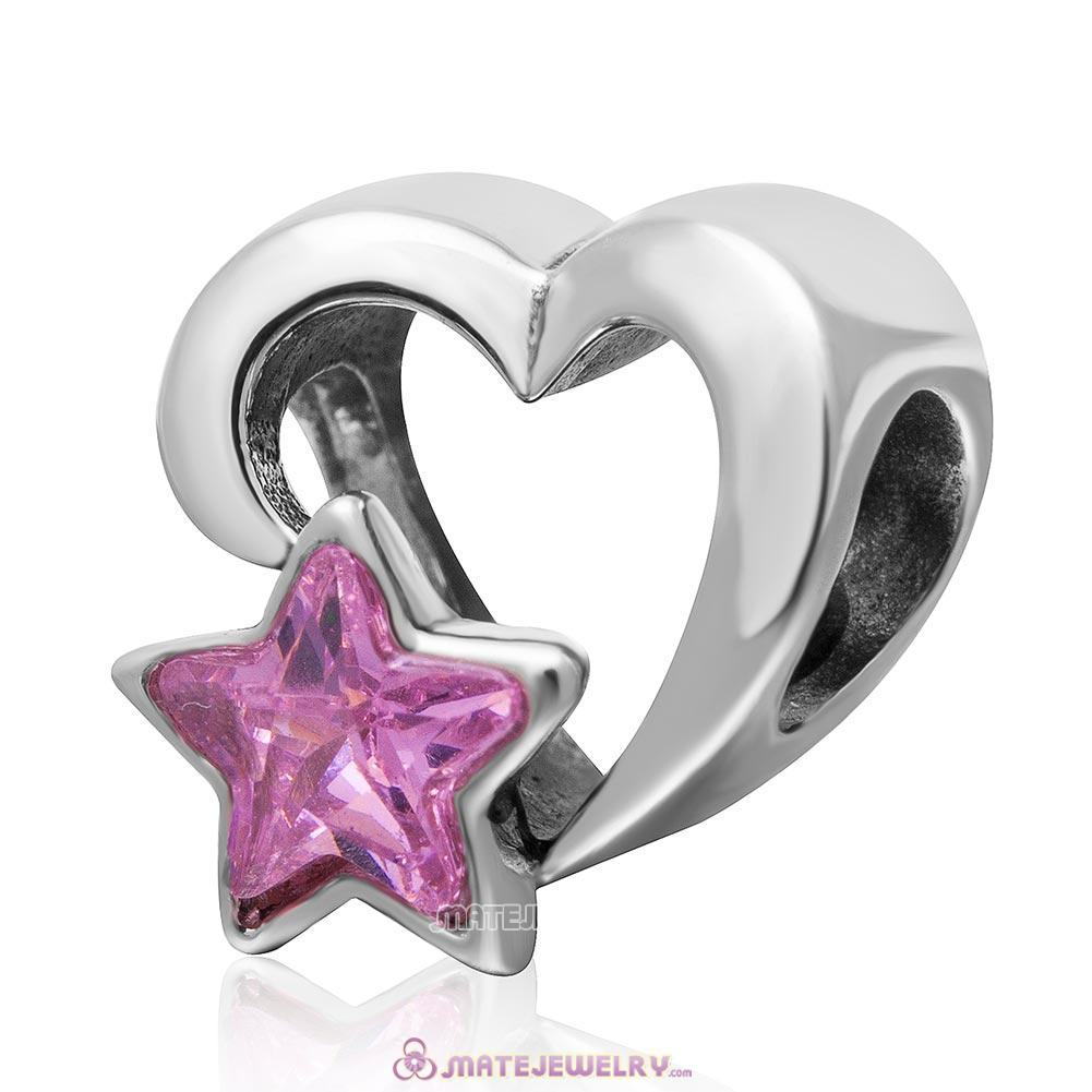 925 Sterling Silver Open Heart Charm Bead with Pink Star Cubic Zirconia
