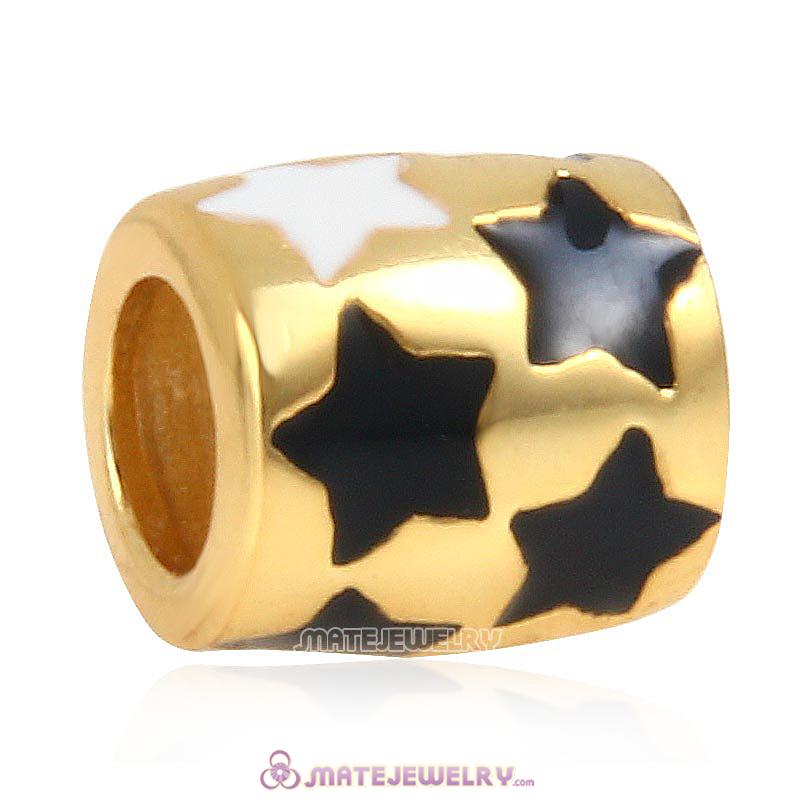 Gold Plated Silver Star Beads with Enamel