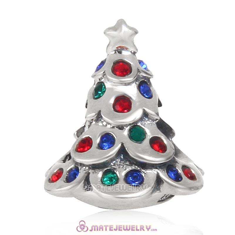 Christmas Tree Charm 925 Sterling Silver Beads with Colorful Crystal