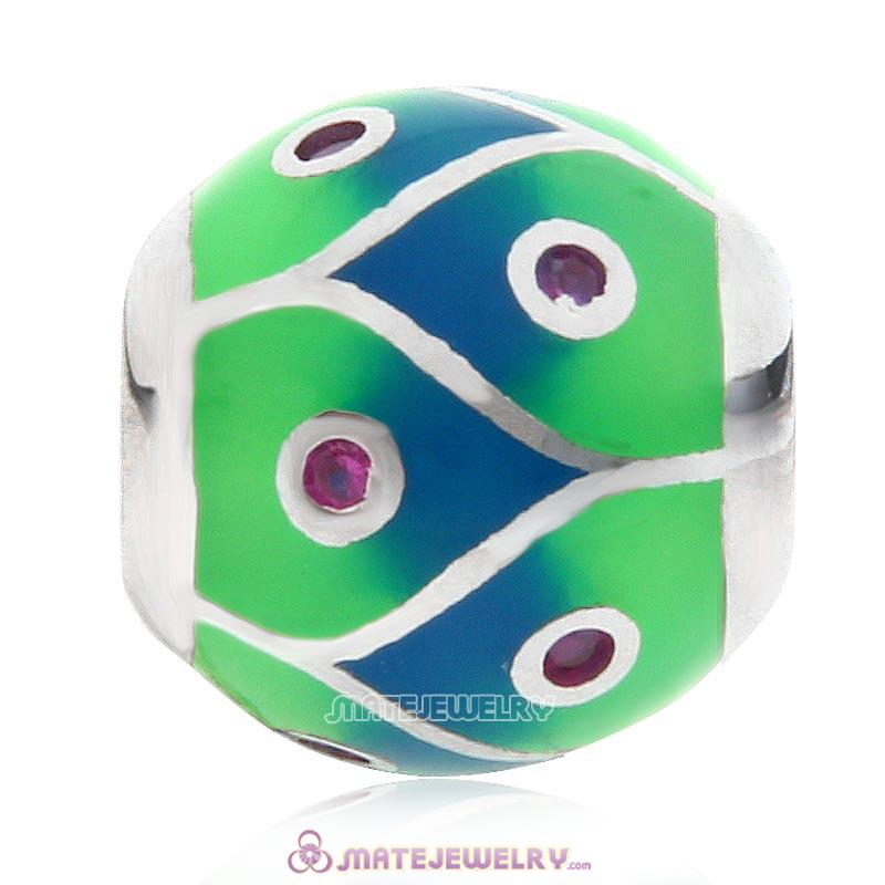 Round Ball Charm Stone 925 Sterling Silver Bead with Colorful Enamel