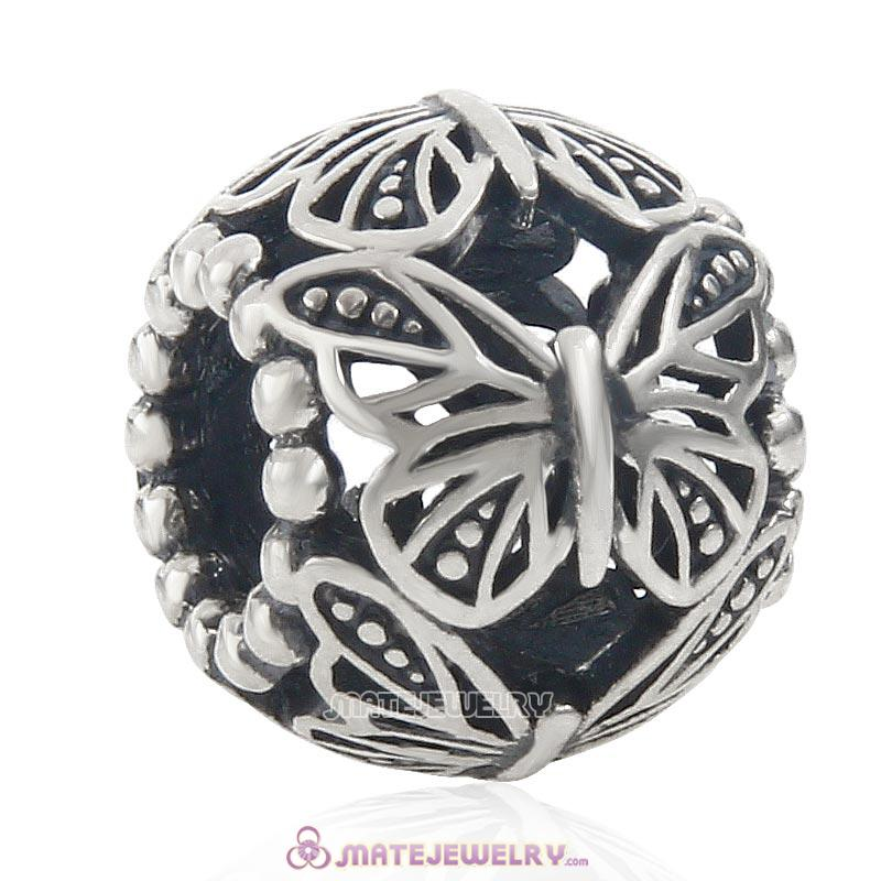 Flying Butterfly 925 Sterling Silver Openwork Charm Bead