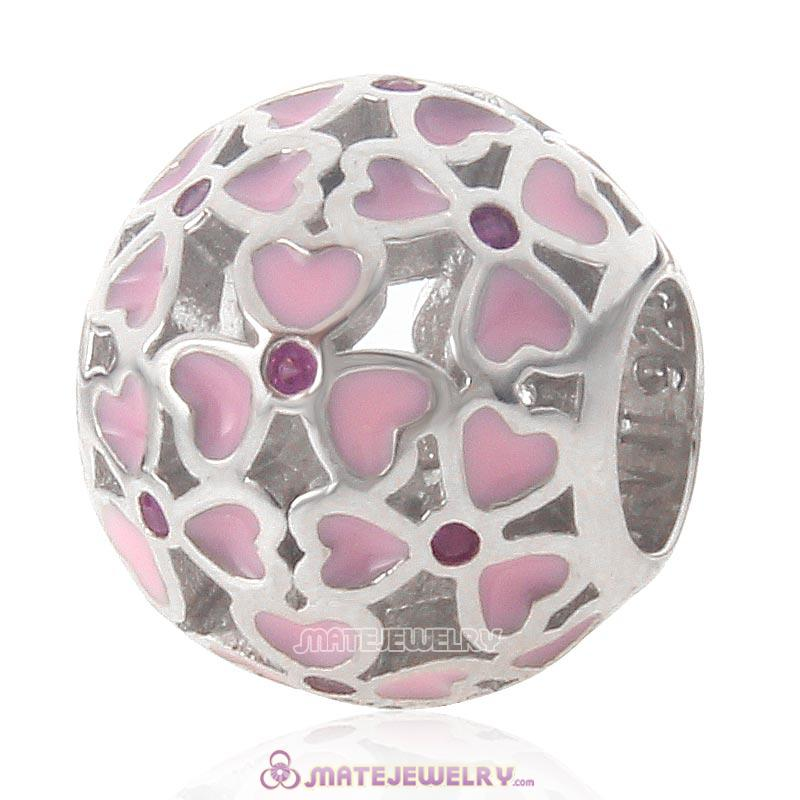 Pink Flower Love Charm 925 Sterling Silver Bead