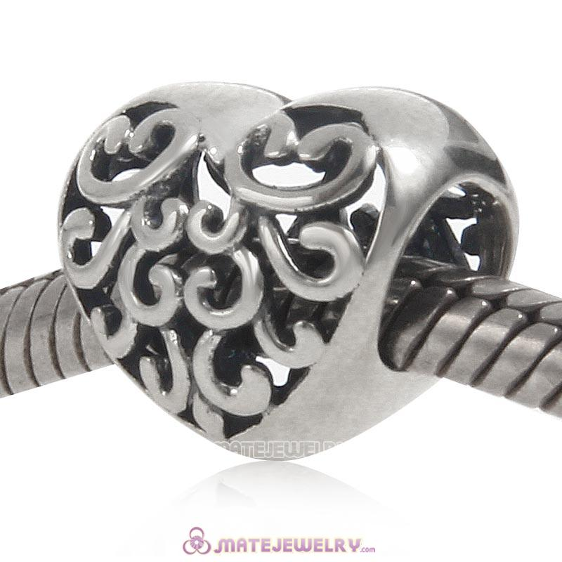 Filigree Heart Charm Antique 925 Sterling Silver Bead