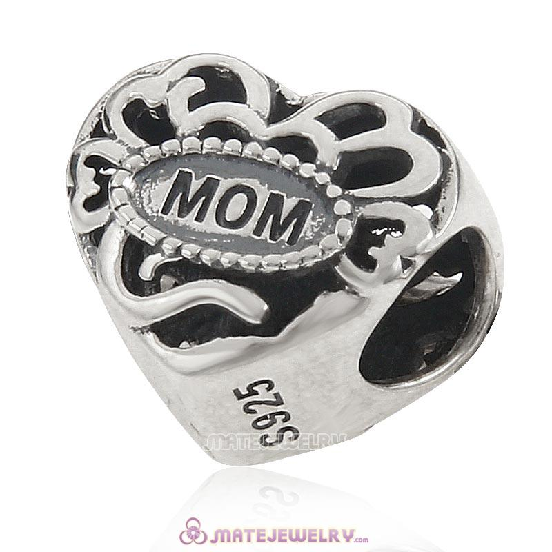 Great Mom Love Heart Charm 925 Sterling Silver Bead