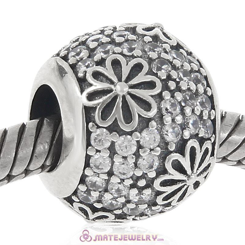 Daisy Flower Clear CZ Charm 925 Sterling Silver Bead