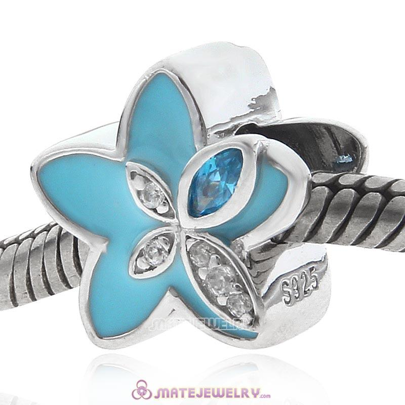 Blue Flower with CZ Sterling Silver Charms Beads