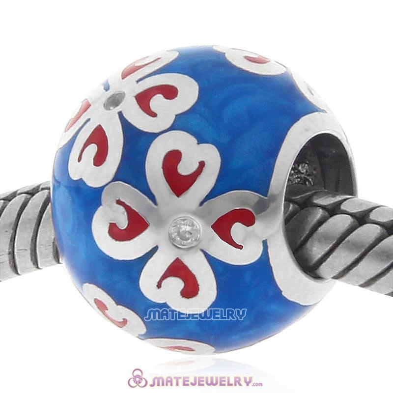 Red Clover Blue Enamel Sterling Silver Charms Beads