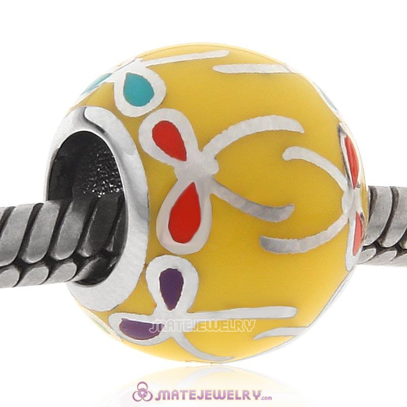 Colorful Bow Sterling Silver Charms Yellow Enamel Beads