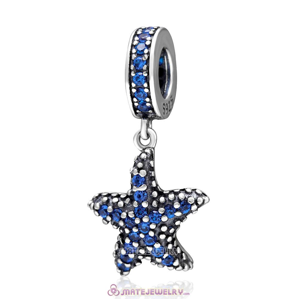 Blue Starfish Charms Blue CZ