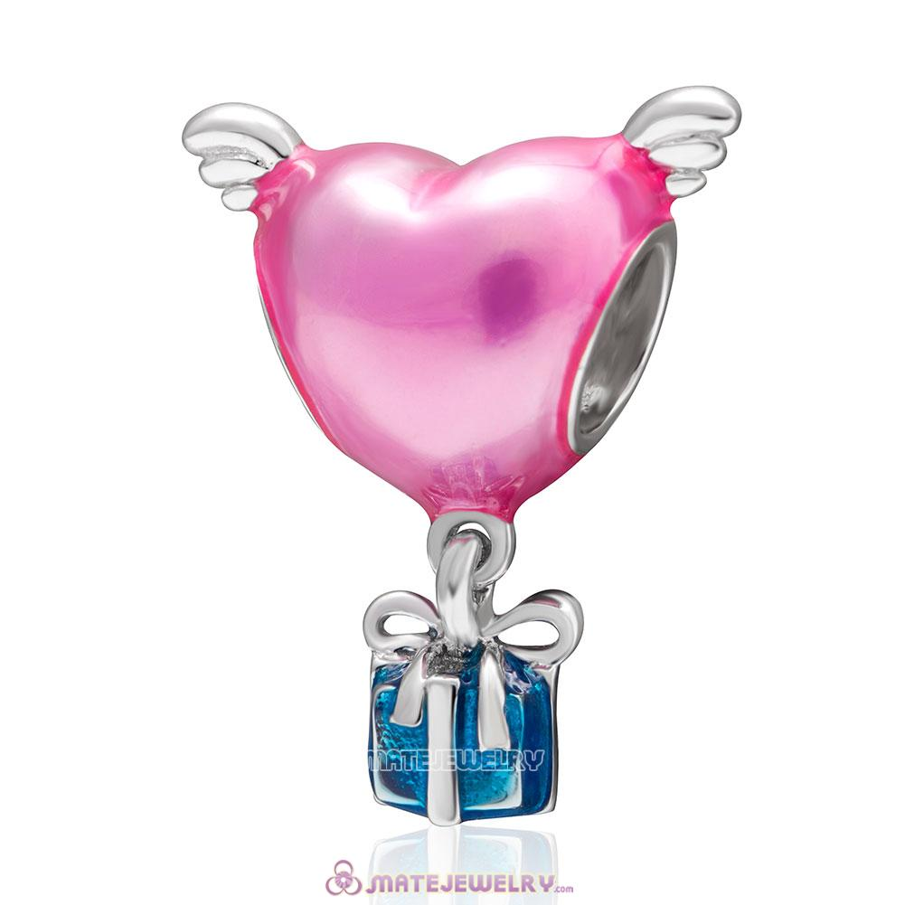 Heart with Wings Pink Enamel Charm
