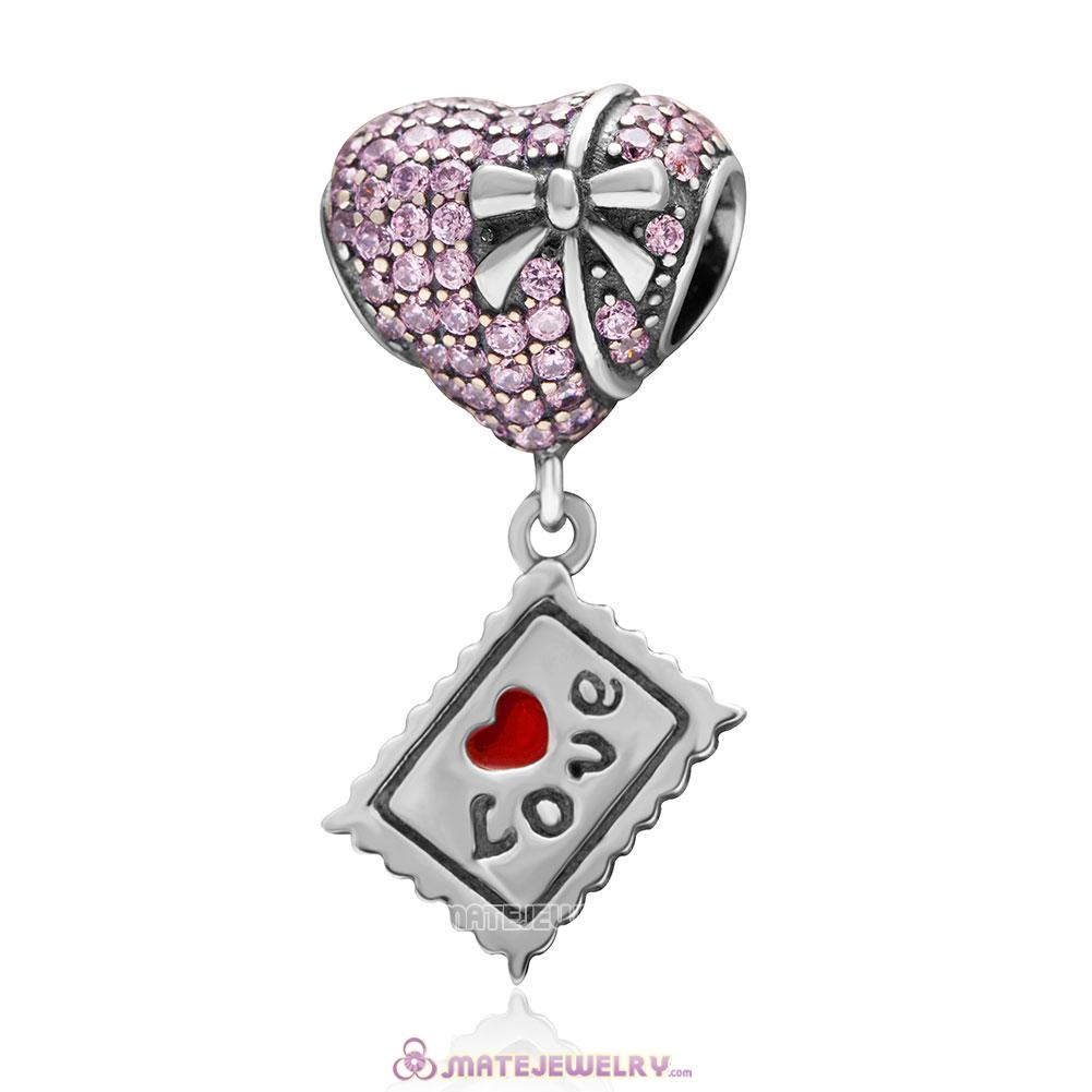 Pink Heart with Bowknot Love Postcard Charm