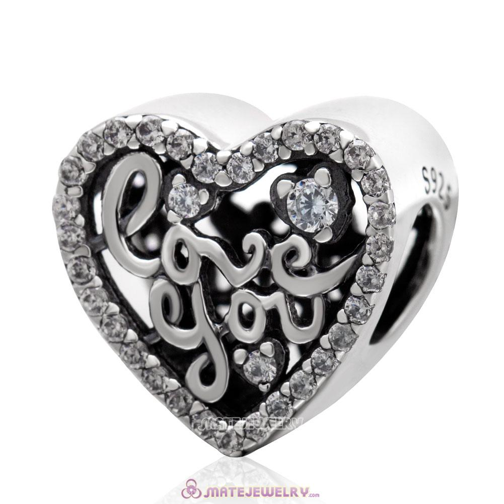Love You Heart Charm with Clear CZ