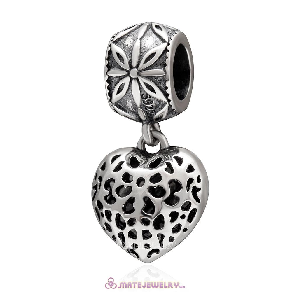 Openwork Love Heart Dangle Charm