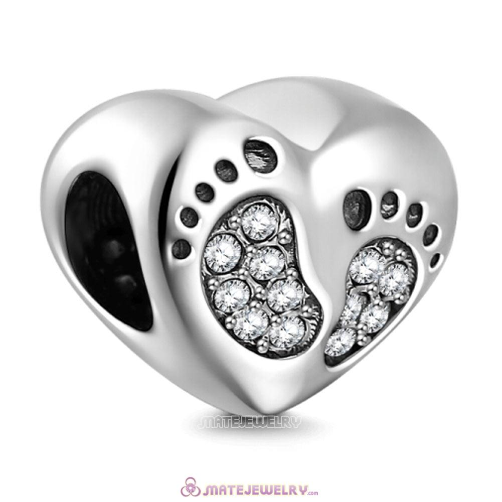 Clear Crystal Baby Footprint Heart Charms Beads
