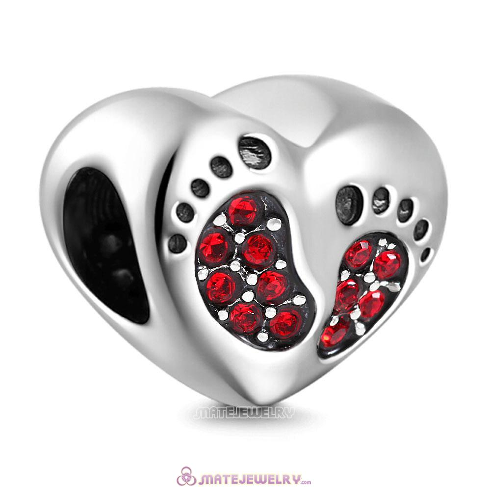 Red Crystal Baby Footprint Heart Charms Beads
