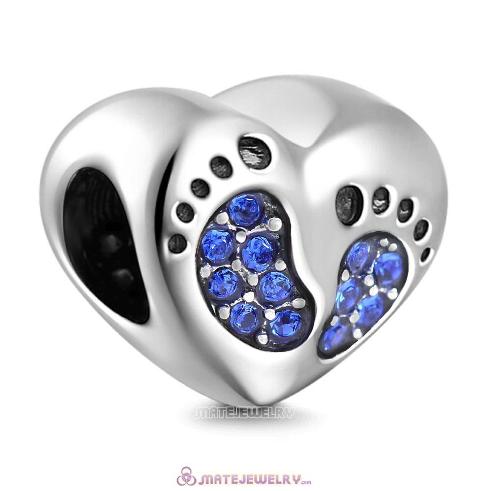 Sapphire Crystal Baby Footprint Heart Charms Beads
