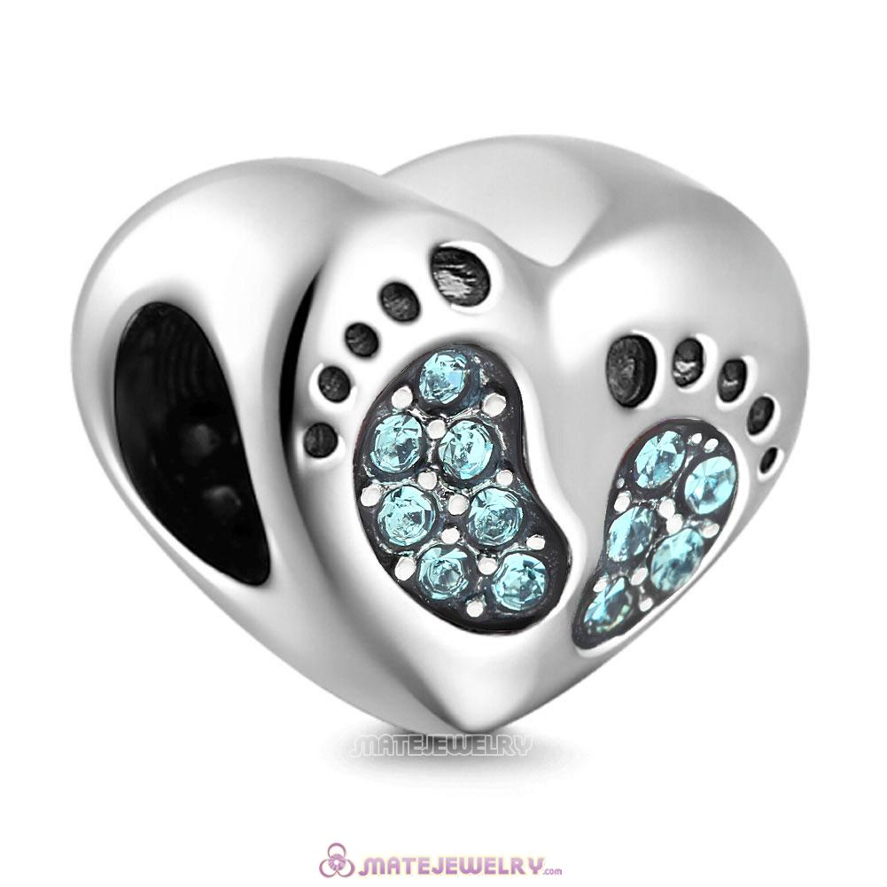 Aquamarine Crystal Baby Footprint Heart Charms Beads