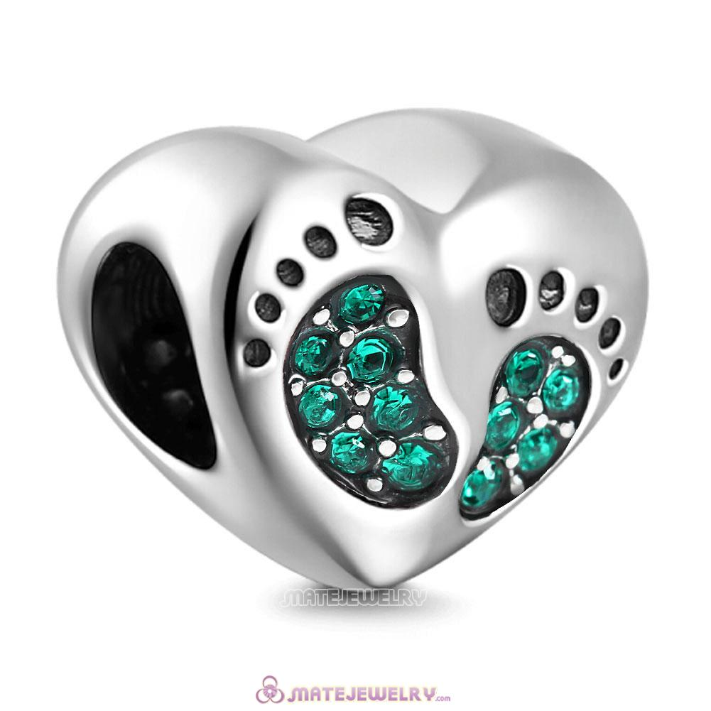 Emerald Crystal Baby Footprint Heart Charms Beads