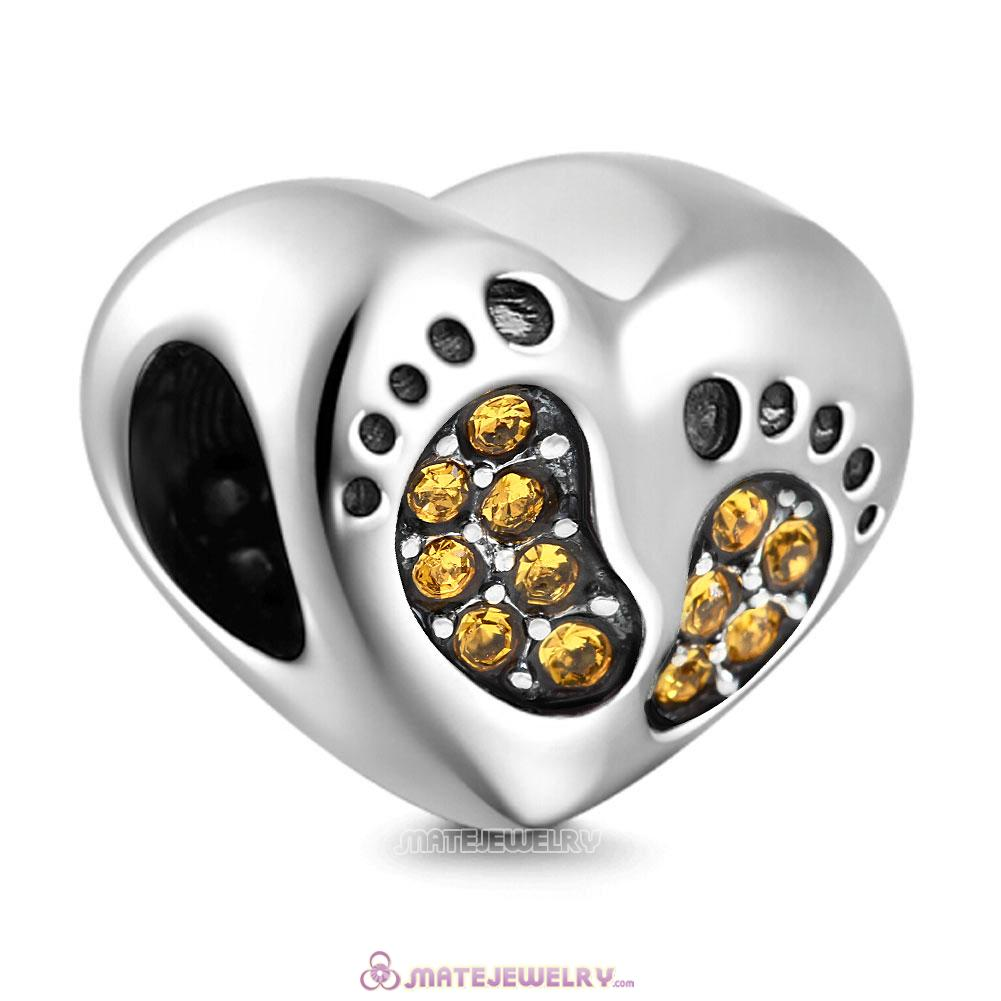 Topaz Crystal Baby Footprint Heart Charms Beads