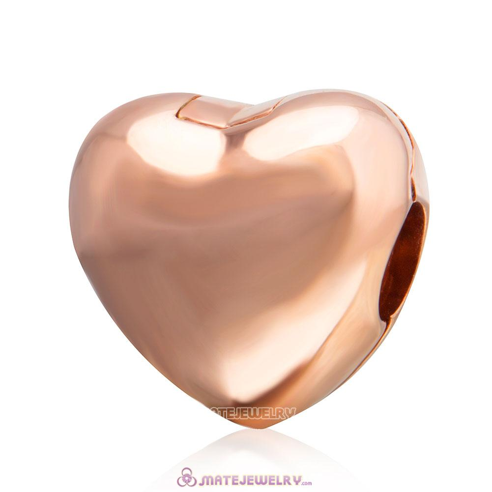 Rose Gold Smooth Heart Clip Charm