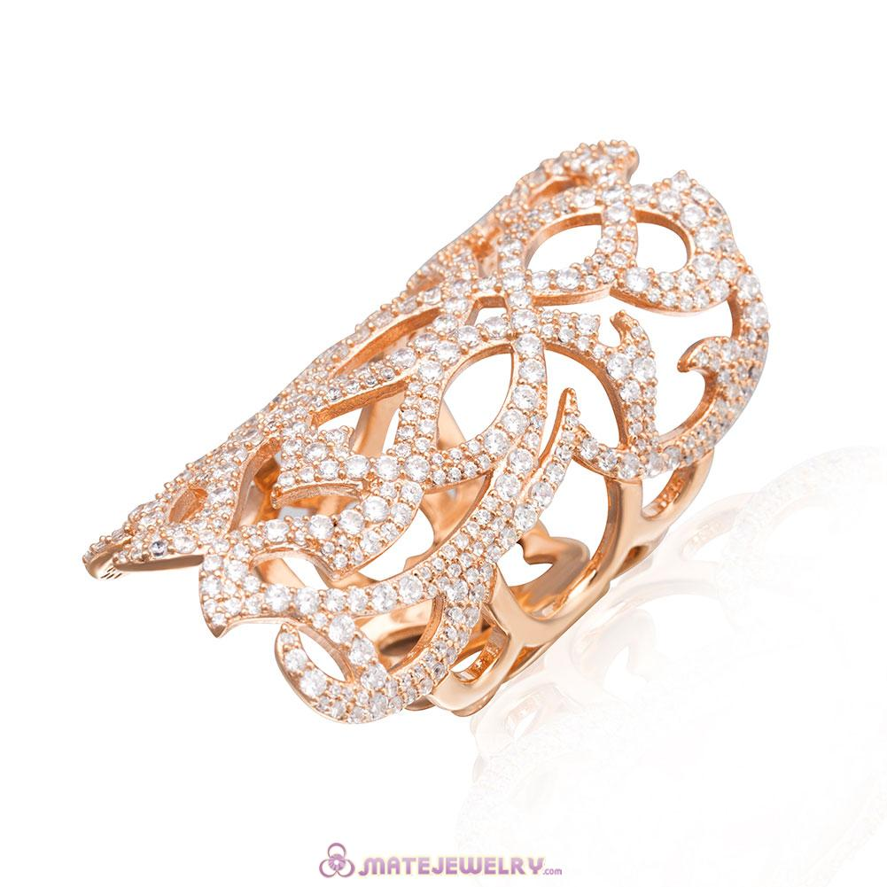 Cubic Zirconia Rose Gold Ring Sterling Silver