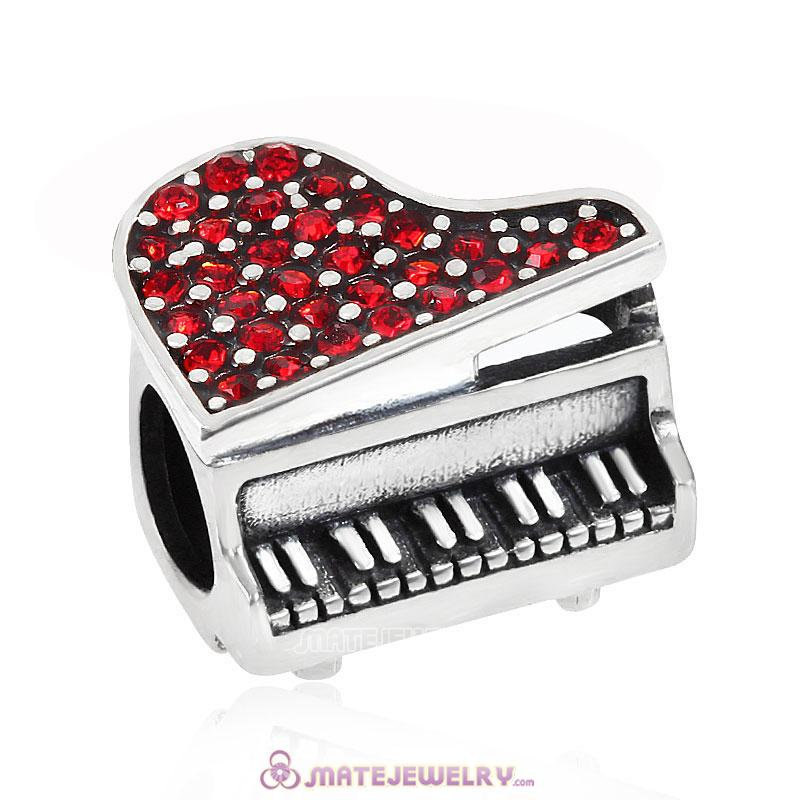 Music Piano Beads Charm Red Crystal