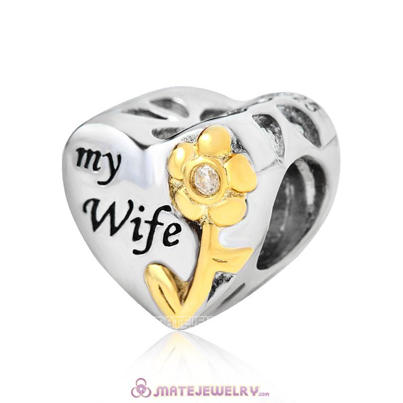 My Wife Heart Charm Antique 925 Sterling Silver with Gold Plated Bead