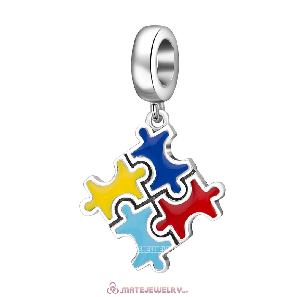 Colorful Puzzle Piece Charms Beads with Enamel