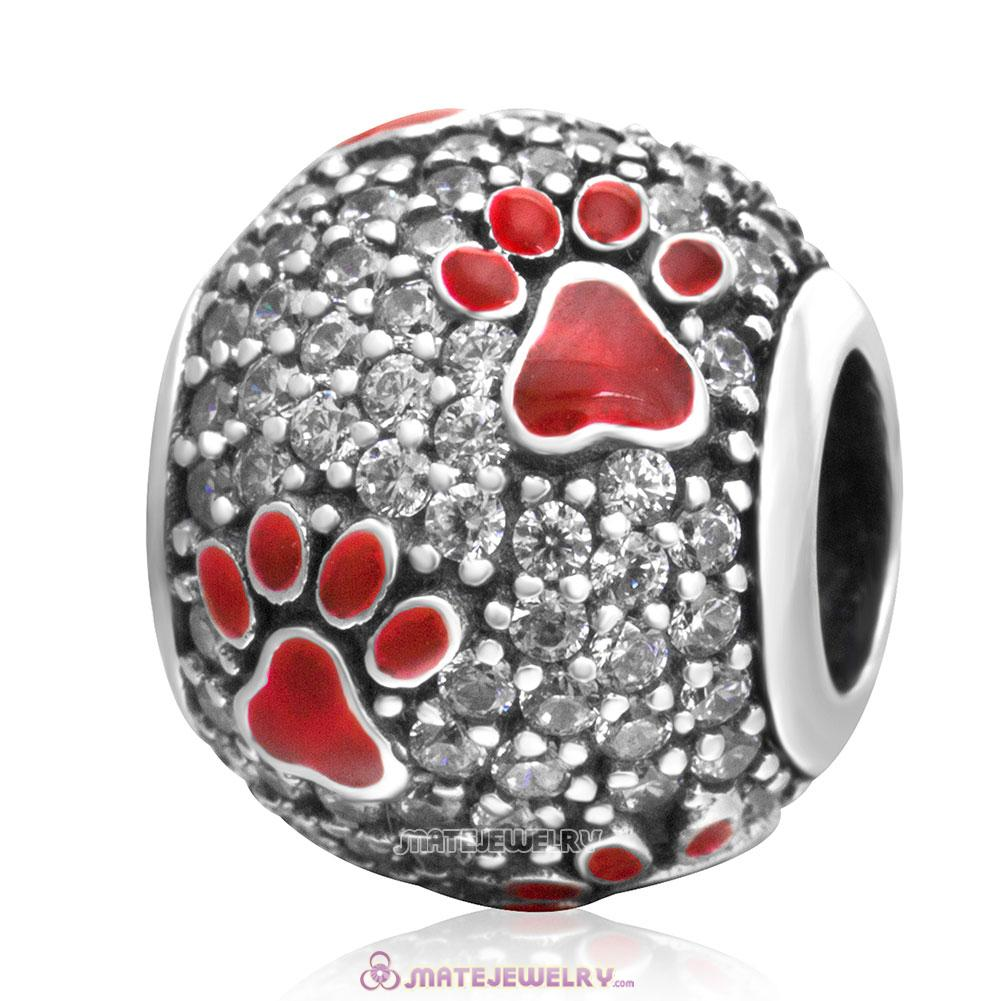 925 Silver Red Animal Pawprint Charm Beads