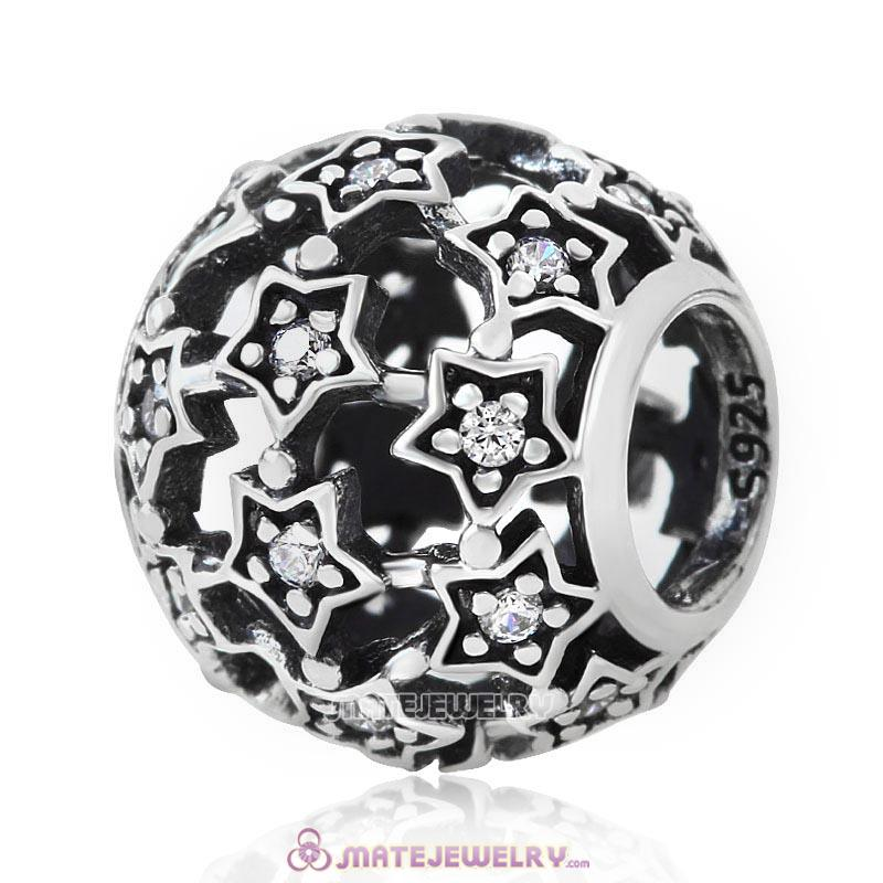 925 Silver Shimmering Star Charm Bead with Clear CZ