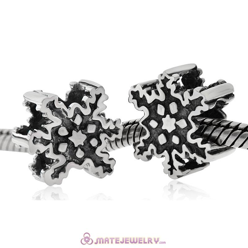 925 Sterling Vintage European Snowflake Beads