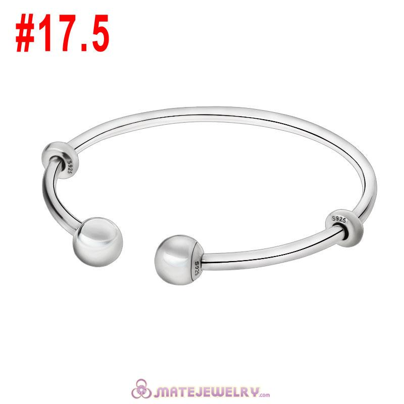 Adjustable Open Bangle 925 Sterling Silver with Round Ball