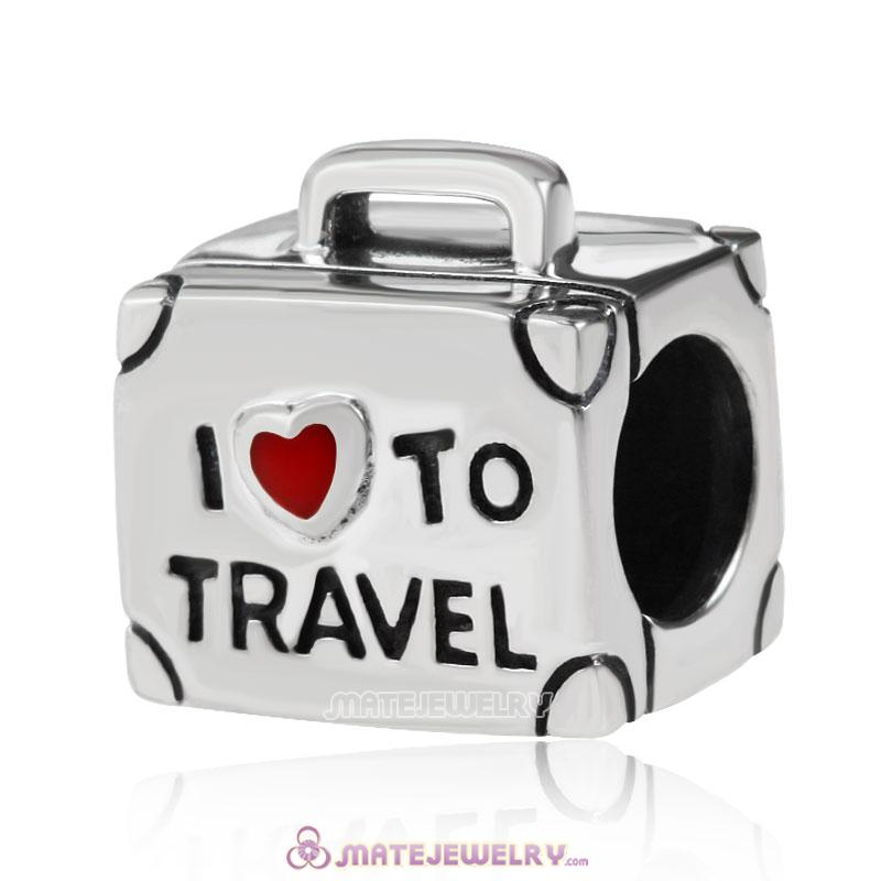 925 Sterling Silver I Love to Travel Suitcase Bead