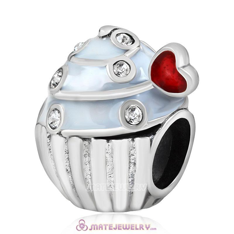 Sweet Cupcake Charm Sterling Silver Bead with Clear Austrian Crystal