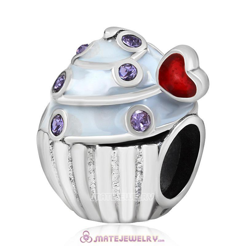 Sweet Cupcake Charm Sterling Silver Bead with Tanzanite Austrian Crystal