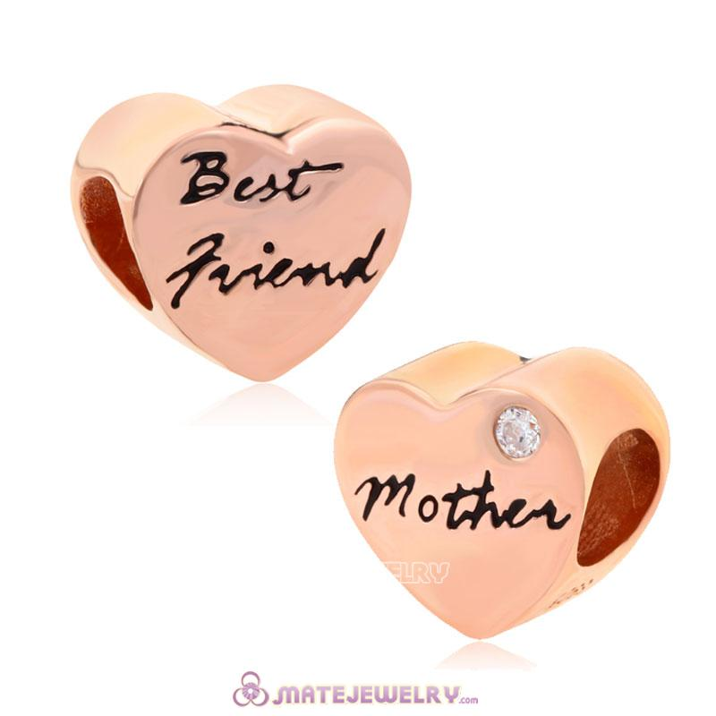 Rose Gold European Mother and Best friend Heart Charms Beads with White CZ Stone