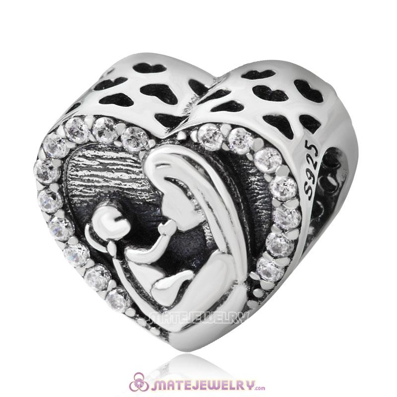 European 925 Sterling Silver Mother and Baby Heart Charm
