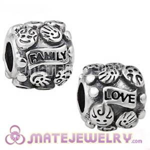 Antique Sterling Silver LOVE and FAMILY Charm Beads