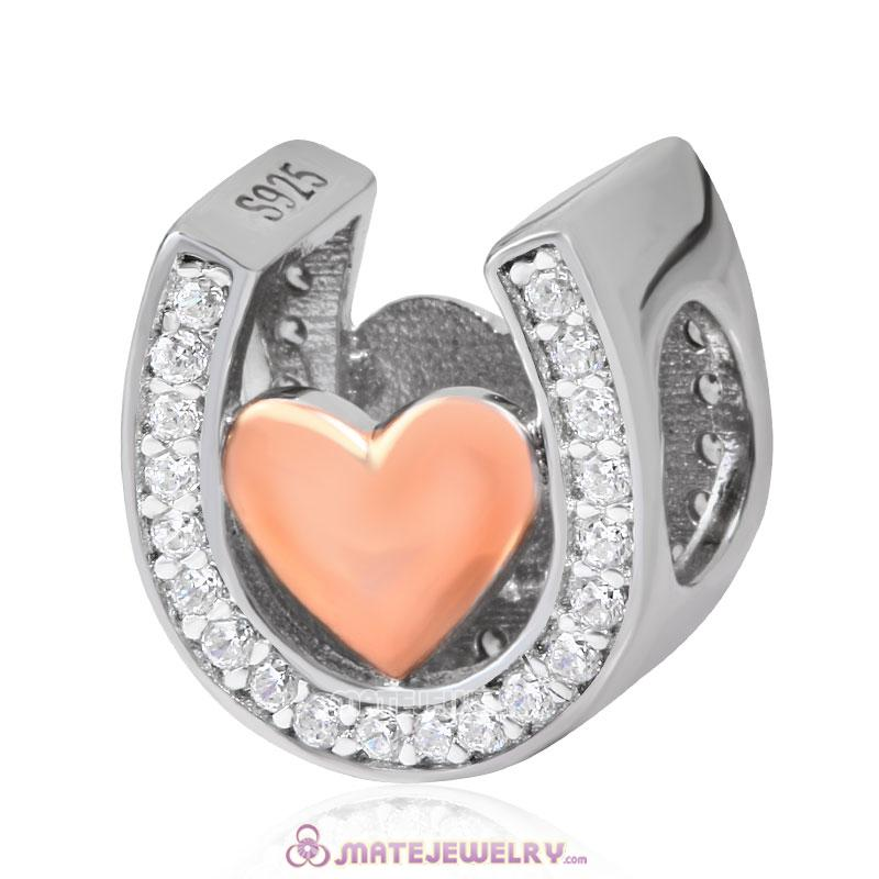925 Sterling Silver Heart Horseshoe Charm with Rose Gold