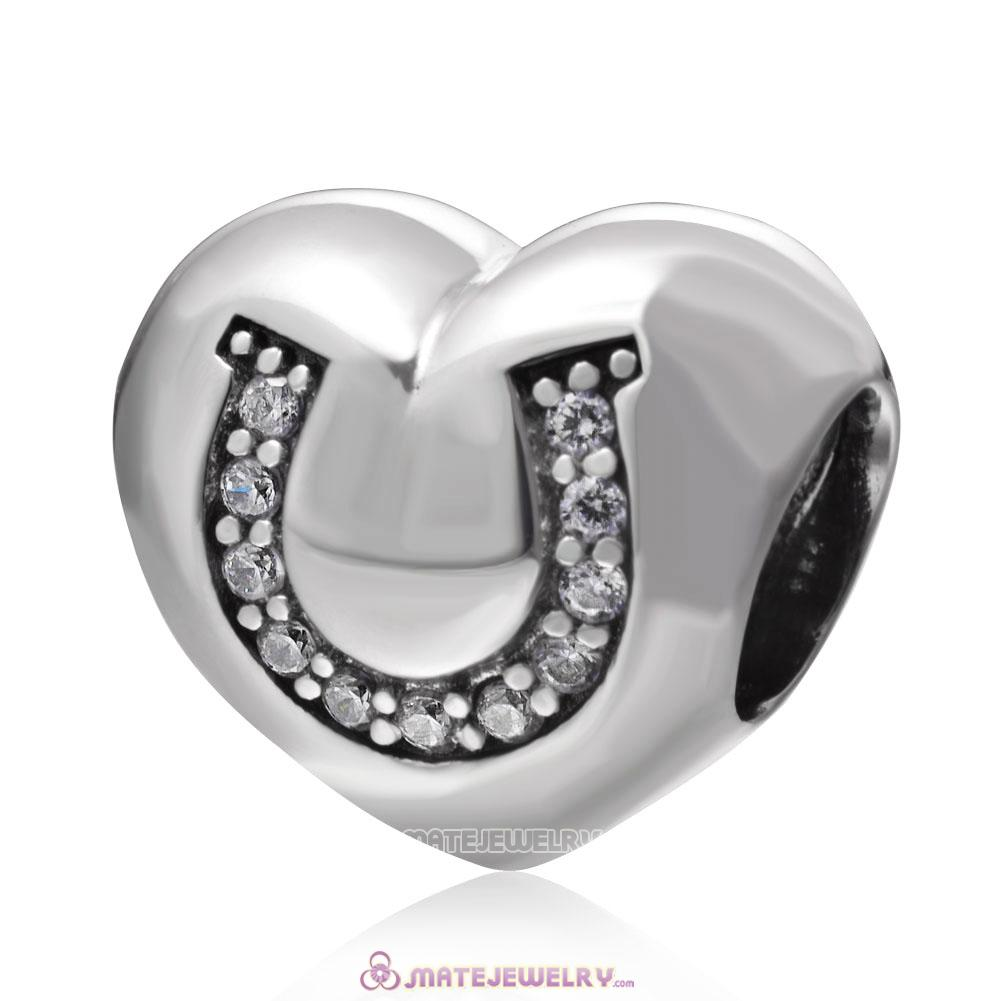 925 Sterling Silver Love Charms with Horseshoe CZ Stones