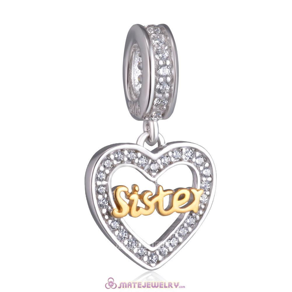 Gold Sister Heart Charm Pendant 925 Silver