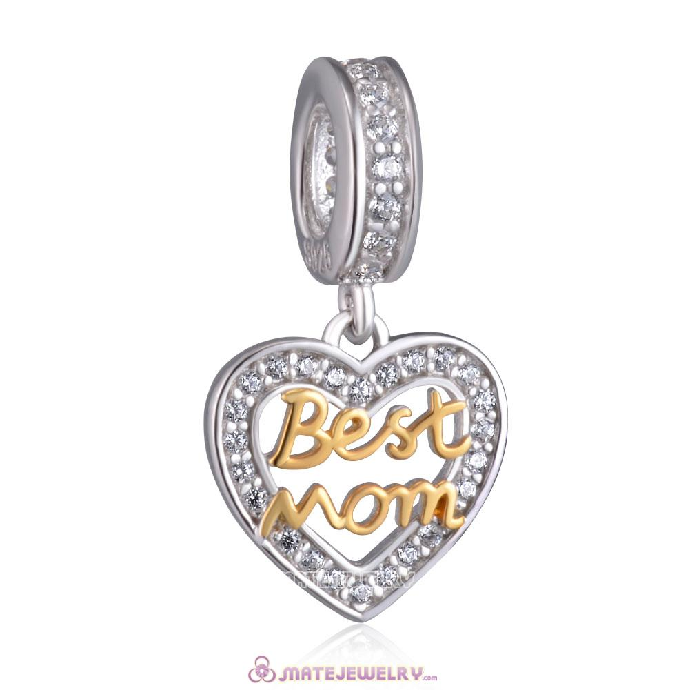 Gold Best Mom Heart Charm Pendant 925 Silver