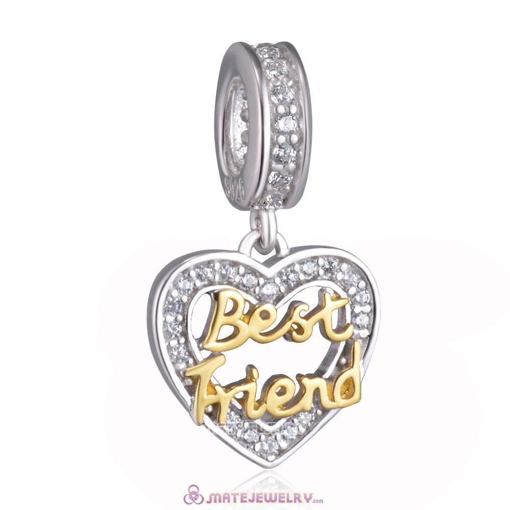 Gold Best Friend Heart Charm Pendant 925 Silver
