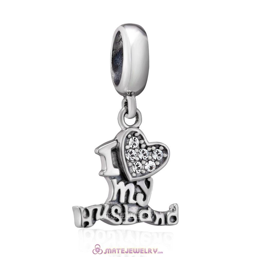 925 Sterling Silver I Love my Husband Charms with Clear Crystal